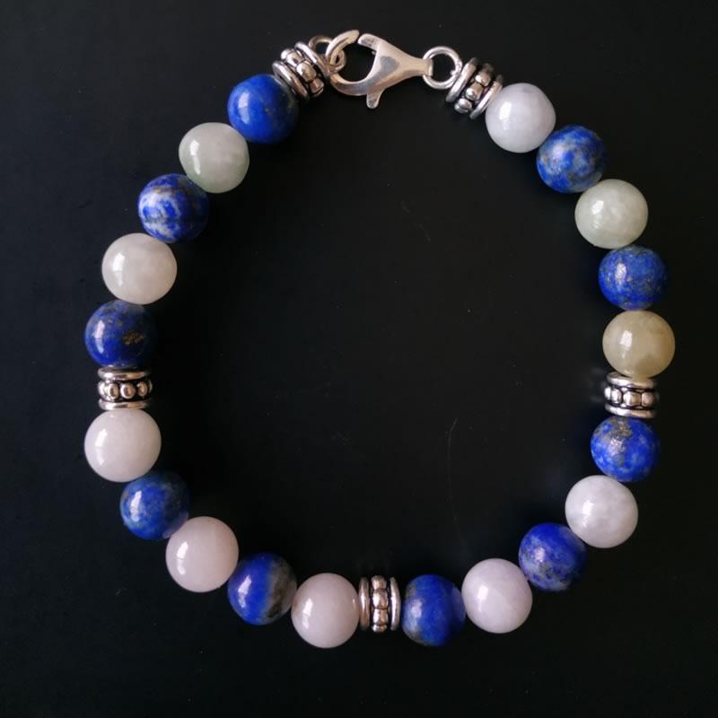 Bracelet lapis lazuli Jade blanc